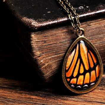Monarch butterfly wing necklace, antique brass necklace, tear drop necklace, glass necklace, orange necklace, monarch butterfly necklace,