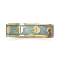 Pearlescent Aqua Enamel Fashion Bangle Bracelet with Gold Tone Screw Accents