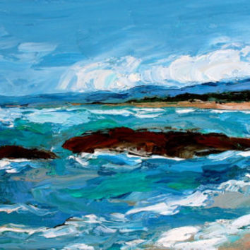 Palette Knife Oil Painting - Original - Honeyscolors - Ocean Landscape - Seaside - Waves - Water - Beach