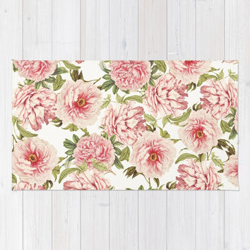 old fashioned peonies Rug by Sylvia Cook Photography