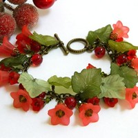 Red and Green Holiday Bracelet Lucite Flowers Crystals Handmade