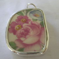 Broken China Necklace Pendant  Chaney Sterling Pink Rose Pendant  Fused Glass