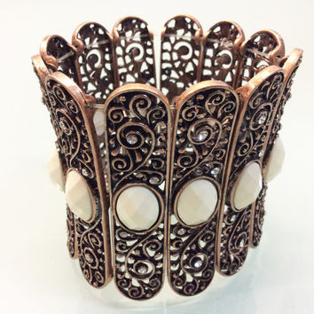 Statement Cuff Bracelet - Elastic Stretched with Crystals, Pearls, & Semi Previous Stones, Great for Formal Occasion, Party, Wedding Gift