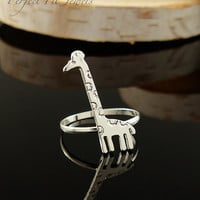 Silver Giraffe Ring - Cute ring Jewelry - Rings for mom - Weddings - Birthdays - bridesmaids and more -  Handmade # 0070