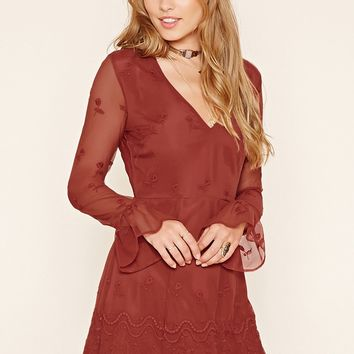 Bell-Sleeve Embroidered Dress