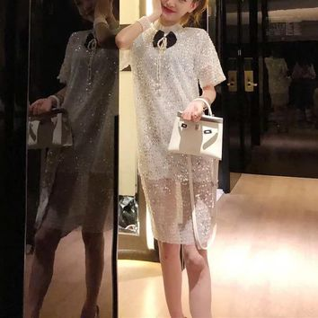 Sequined Elegant Simple  Women  Fashion Retro Bow Short Sleeve High Collar Dress