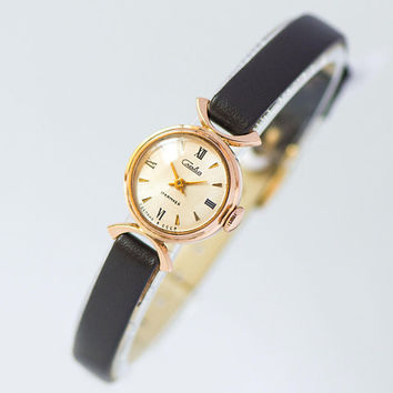 Solid gold 14K women watch Glory vintage, sunburst face lady watch gold, tiny jewelry gold watch for women Soviet, premium leather strap new