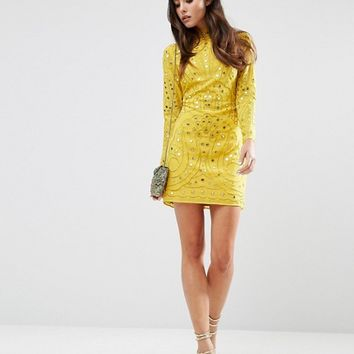 ASOS Mirror and Embroidered Cut Out Back Mini Dress at asos.com