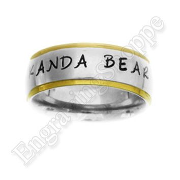 CUSTOM Couples Ring Name Ring Personalized Ring HAND STAMPED Ring Wedding Band Promise Ring Stainless Steel Ring 8mm Gold Edge Silver Ring