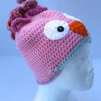 Crochet Hat - Childrens Animal Hat - Owl Hat - Pinks - 3 to 5 years