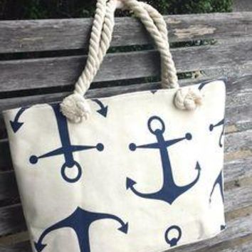 White Anchor Print Tote with Natural Rope Handles