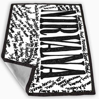 Nirvana all member and song titles collage Blanket for Kids Blanket, Fleece Blanket Cute and Awesome Blanket for your bedding, Blanket fleece **