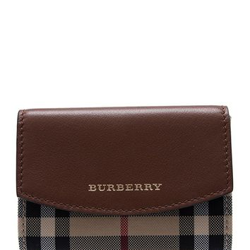 Burberry Horseferry Check Chesham Card Case Leather Brown New