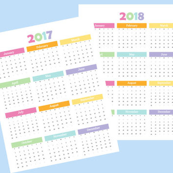Year at a Glance, 2017 calendar, 2017 printable calendar, 2017 calendar template