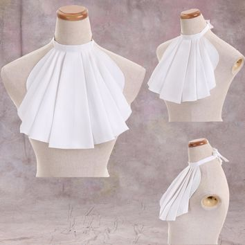 Cosplayidy 1785 Victorian Accessory Jabot Neck Tie Medieval Mens White Jobot Tie Cosplay Prop Accessory Tie L0516
