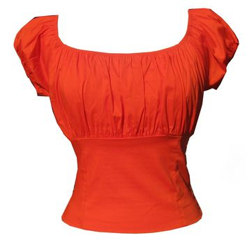 Pumpkin Orange Fitted Smock Peasant Top Pin-up Retro Vintage Style on off Shoulder