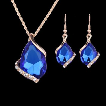 2017 New Jewelry Sets Gold color Crystal White/Red/Blue/Black 5 color created Dia Waterdrop Necklace Earrings Gift