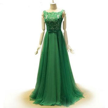Cap sleeve emerald green dress hollow lace and tulle long gown dresses