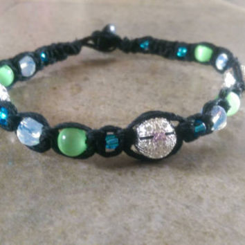 Black Hemp Anklet, Summer Jewelry, Gift for Her, Hemp, Spring, Green, Handmade, Free USA Shipping