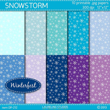 snowflake digital paper, blue scrapbook paper winter digital scrapbook supplies, DIGITAL DOWNLOAD DP-212