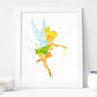 Disney Watercolor Tinkerbell print Fairy print Tinkerbell wall art, tinkerbell nursery watercolor disney Fairy wall Fairy Tinker bell poster