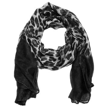 Large Ombre Leopard Scarf in Black to Gray