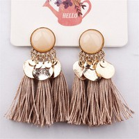 Crazy Feng Boho Tassel Earrings For Women 2018 Fashion Statement Jewelry Sequins Opal Drop Earrings Pendientes oorbellen Bijoux