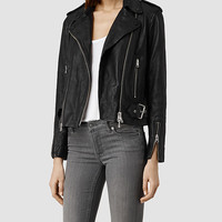 Womens Addison Leather Biker Jacket (Black) | ALLSAINTS.com