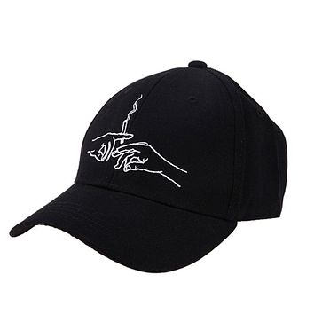 Cotton Baseball Caps Hands Smoking Embroidery Cap Men Women Customer Design 2018 Brand Hat Black Cap Casquette Dad Hats