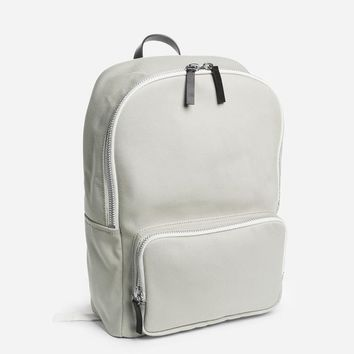 The Mini Modern Zip Backpack - Stone with Black Leather