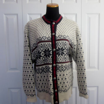 Vintage LL Bean Wool Icelandic Cardigan Nordic Snowflake Knit Cardigan Made in USA Womens XL