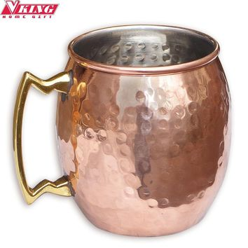 V-KING Hammered Copper plated Moscow Mule Mug Stainless steel Beer  Cup Copper mug Rose gold Drinkware Free shipping