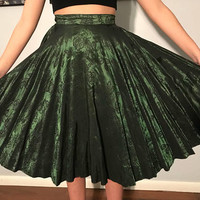 Vintage 50's Emerald Silk Brocade Circle Skirt