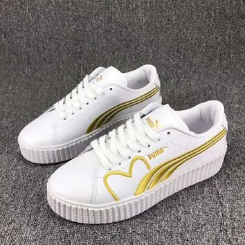 One-nice™ PUMA Basket Women Casual Running Sport Shoes Sneakers White Golden I-CSXY