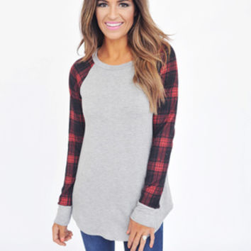 Plaid Sleeve Top- Grey