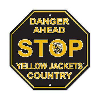 "Georgia Tech Yellow Jackets 12"" Plastic Wall STOP Sign Country University of"