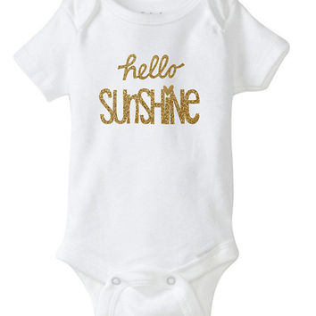 Gold Sparkle Metallic Glitter Hello Sunshine Onesuit Bodysuit for Infant and Baby - custom print