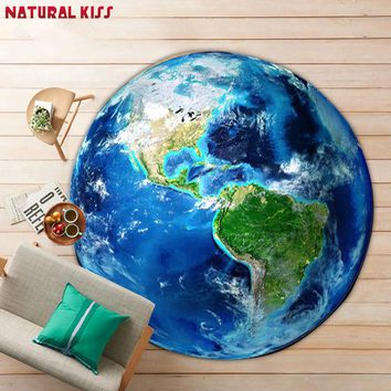 Hot sale 3D Earth short villus Carpet Bedroom Round Modern Kids room Rugs and Carpets for home living room Computer Chair Mat