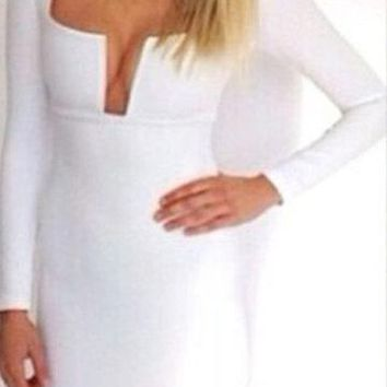 White Deep V-Neck Long Sleeve Bustier Bodycon Dress