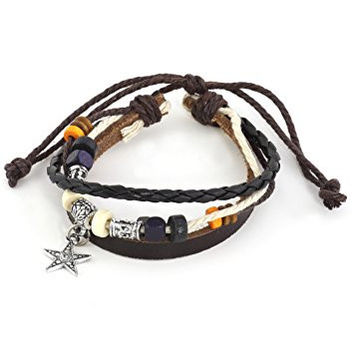 Beaded Star Charm Bracelet Silver Tone BE09 Brown Leather Cuff Wooden Bangle Fashion Jewelry