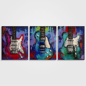 Guitar painting, Music art, Gift for Musician, Guitar art, Original colorful abstract Les Paul guitar painting on canvas