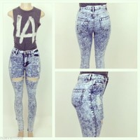 High Waisted Blue Acid Wash Thigh Cut Outs Ripped Jean Pants Sizes S-M-L-XL
