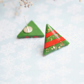 Holiday Earrings - Triangles Christmas Tree - Studs Cute Green Red Gold Earrings - Christmas Earrings - Polymer clay geometry jewelry