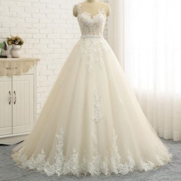 Sexy Illusion Back Embroidery Appliques Quality A line Wedding Dresses Sleeveless Pearl Wedding Dress