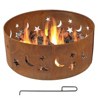 Moon Stars 30-inch Round Steel Outdoor Fire Pit with Rust-like Finish