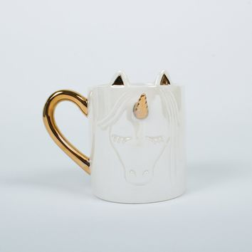 8 OAK LANE WHITE UNICORN COFFEE MUG