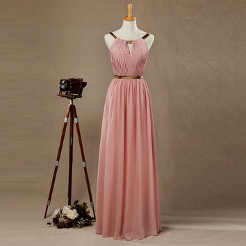 Wedding Party Dress Sleeveless Scalloped A-Line Floor Length Chiffon Cheap Peach Bridesmaid Dresses Prom Dress for Bridesmaid