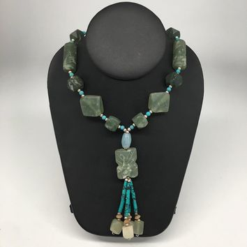 "Multi Shape Beads Green Nephrite Jade Beaded Necklace @Afghanistan,23"" NPH40"
