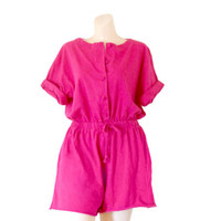 Petite Romper Shorts One Piece Romper Women Romper Hot Pink Romper Petite Clothing Petite Clothes Romper Suit Summer Romper Women Play Suit