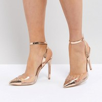 Public Desire Heart Throb Rose Gold Clear Detail Court Shoes at asos.com